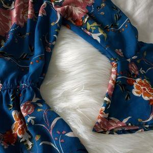 Floral off the shoulder high low dress